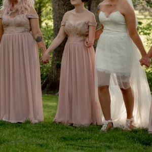Blush pink lace detail bridesmaid dress